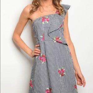 Dresses & Skirts - Gingham Check One Shoulder Embroidered Dress